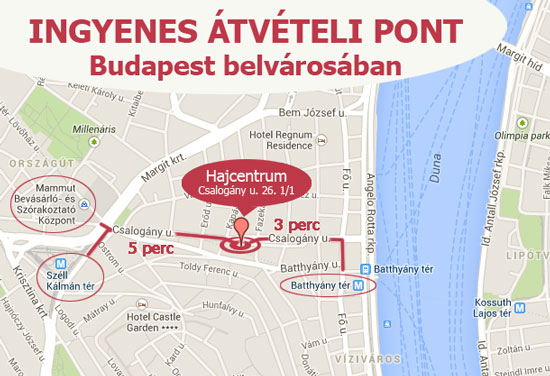 Átvételi pont - Hajcentrum - 1015 Budapest, Csalogány u. 26. 1./1.